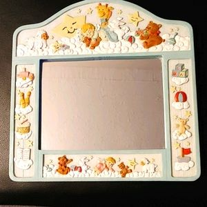 Adorable Detailed Wooden Baby Mirror/Picture Frame